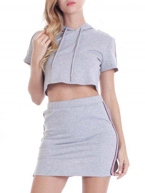 Hooded Striped Crop Top with Skirt - LIGHT GRAY XL