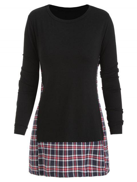 Checked Panel Round Neck Top - BLACK XL
