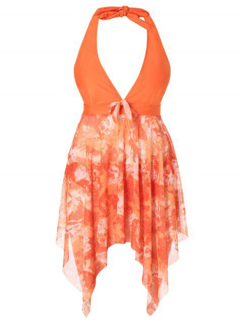 Plus Size Halter Printed Handkerchief Tankini Set - ORANGE 4X