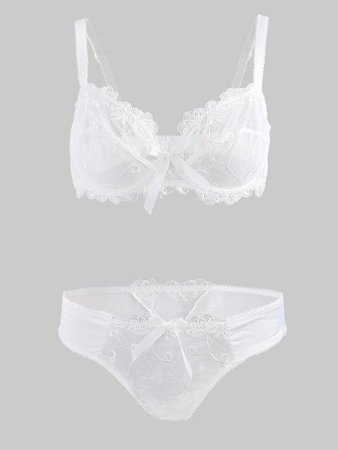 Bowknot Embroidered Bra Set - WHITE 75C
