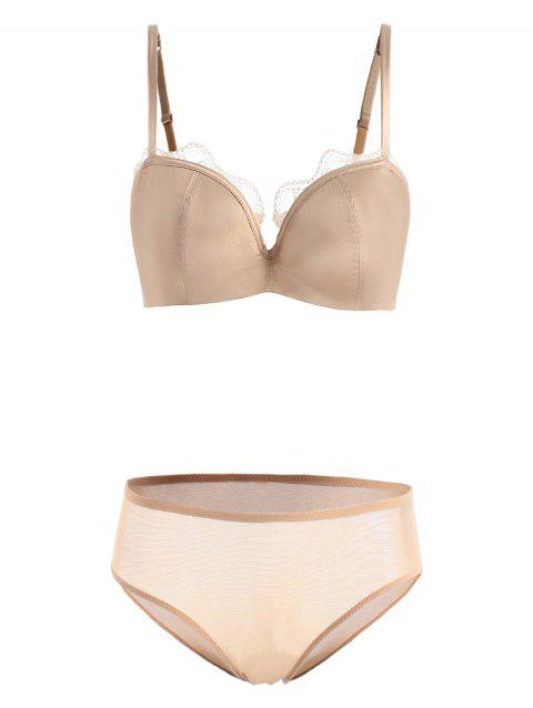 Lace Trim Satin Bra Set - APRICOT 80C