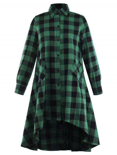 Button Up High Low Hem Checked Casual Shirt - GREEN S