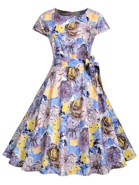 Belted Flower Print A Line Dress - multicolor M