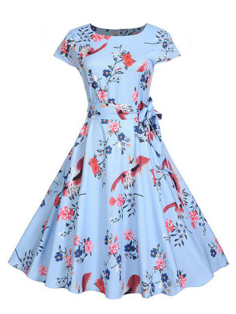 Crane and Flower Print Belted Dress - multicolor M