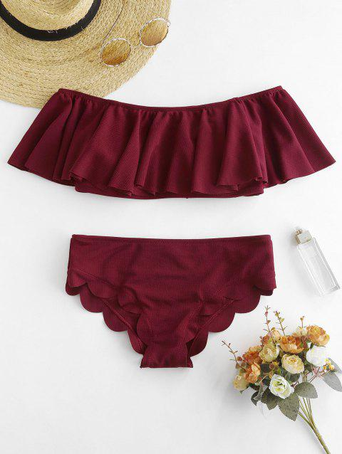 Ruffle Off Shoulder Bikini Set - RED WINE S