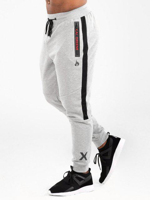 Embroidery Print Panel Jogger Pants - LIGHT GRAY XS
