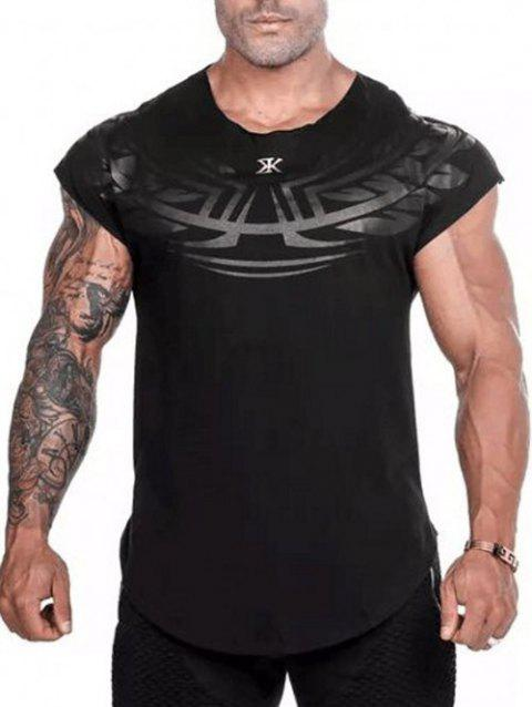 Geometry Letters Printed Casual Sleeveless Shirt - BLACK S