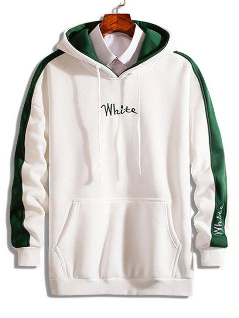 Color Block Embroidered Letter Fleece Hoodie - WHITE S