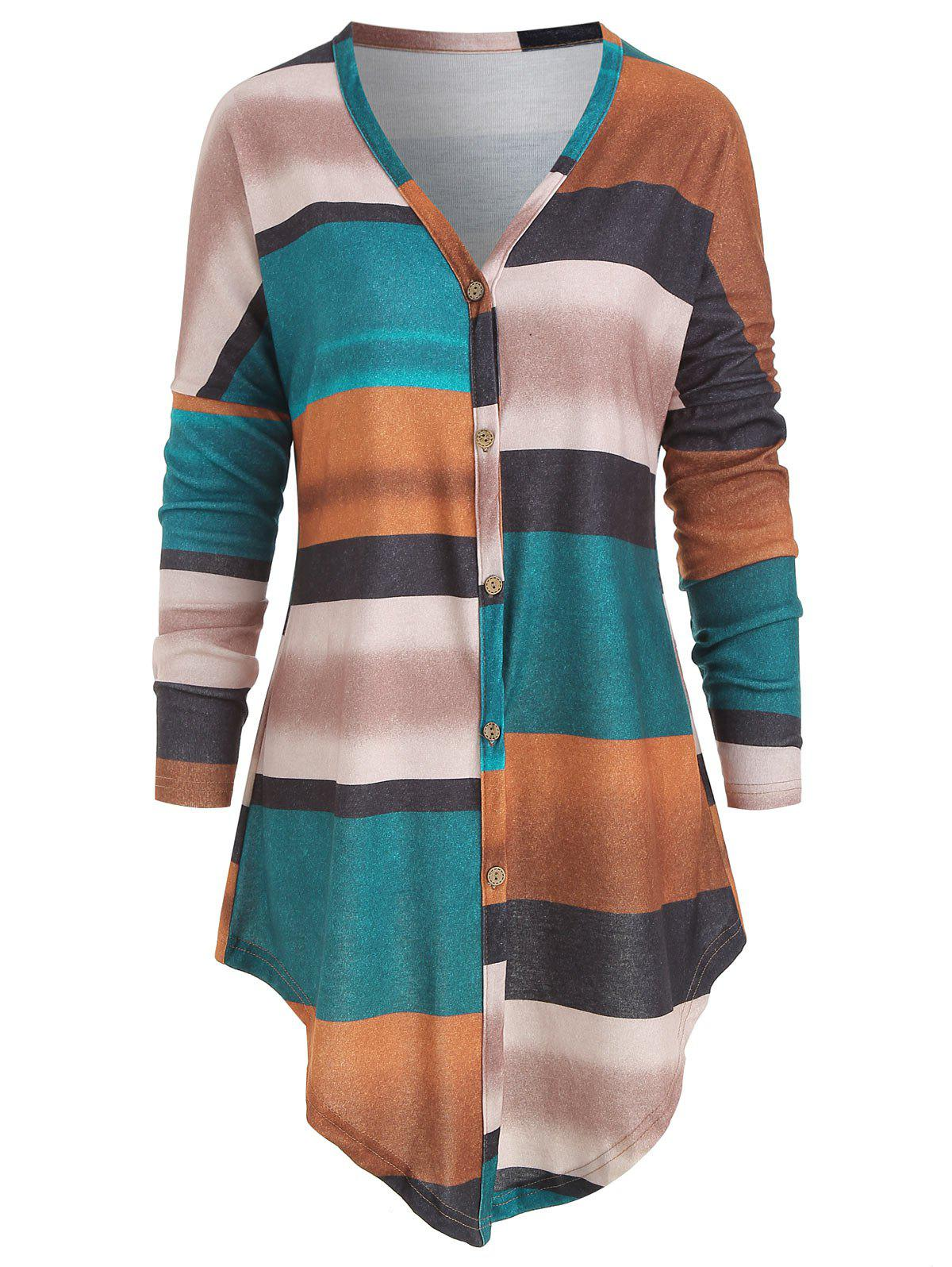 Long Sleeve Knotted Striped Top - multicolor A L