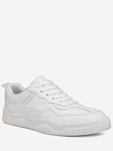 Lace Up Splicing Sneakers - WHITE EU 39