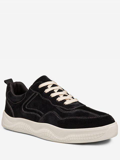 Lace Up Splicing Sneakers - BLACK EU 42