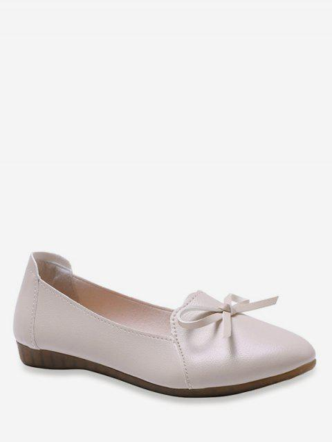 Bowknot PU Leather Flats - WARM WHITE EU 37