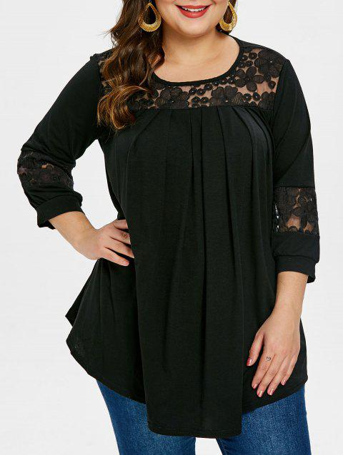 Round Neck Plus Size Embroidery T-shirt - BLACK 4X