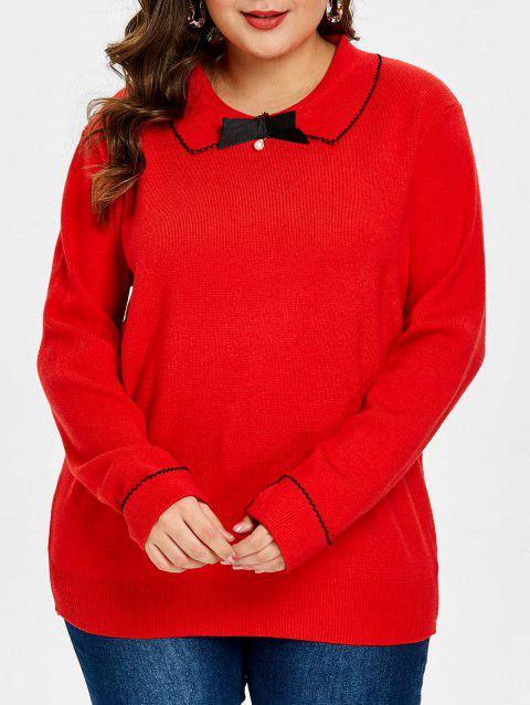 Plus Size Flat Collar Pullover Sweater - RED 3X