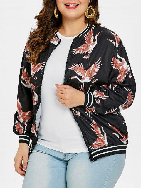 Plus Size Birds Pattern Zip Up Jacket - BLACK 2X