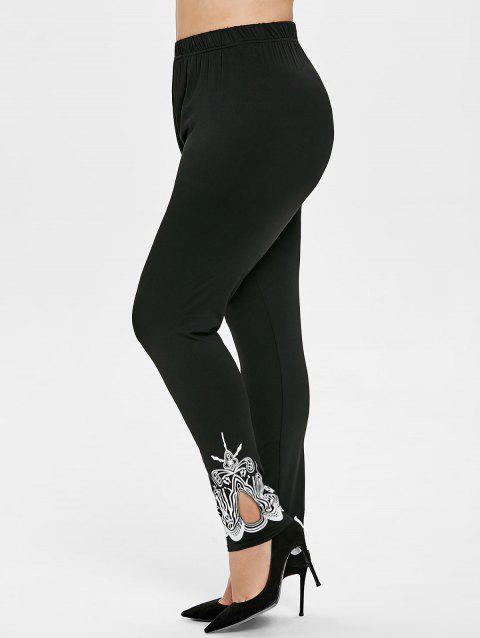 Plus Size Cut Out Printed Leggings - BLACK 2X