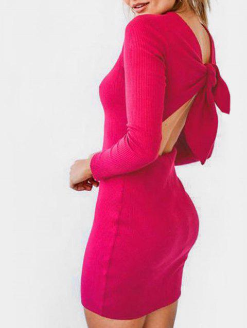 Tie Back Knitted Mini Bodycon Dress - VIOLET RED L