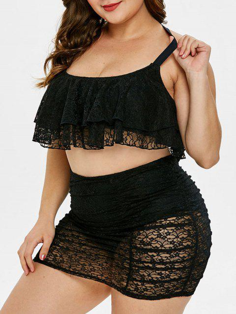 Plus Size Layered Lace Panel Bikini Set - BLACK 1X