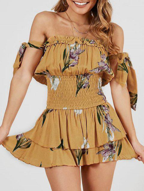 Off Shoulder Smocked Floral Tie Romper - BEE YELLOW S