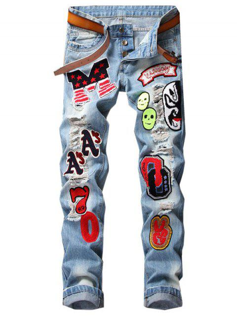 Button Fly Letter Face Appliques Ripped Straight Jeans - LIGHT BLUE 32