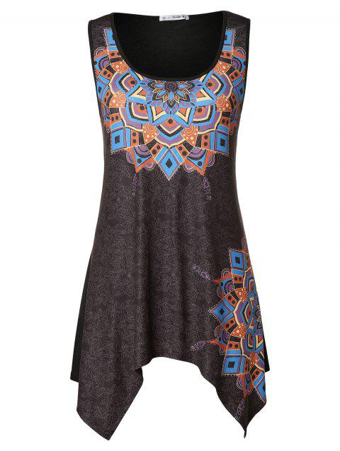 Plus Size Asymmetrical Tribal Print Tank Top - JET BLACK 4X