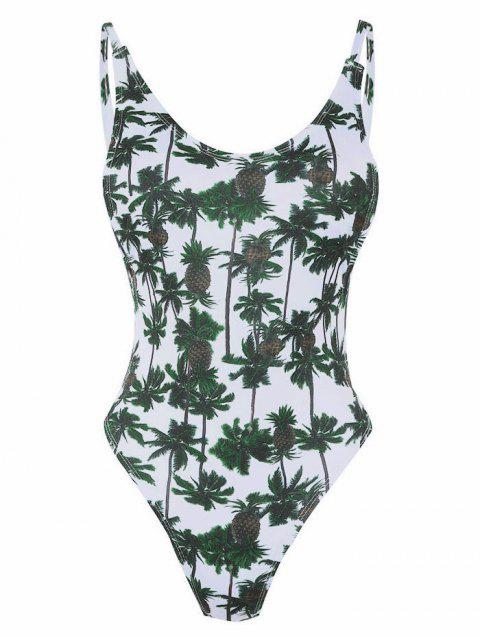 Backless Leaves Print One Piece Swimsuit - SEA GREEN L