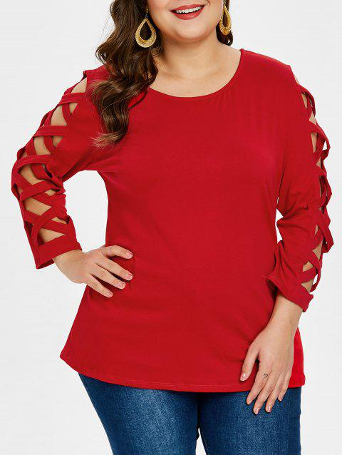 Criss Cross Sleeve Plus Size Round Neck T-shirt - RED 2X