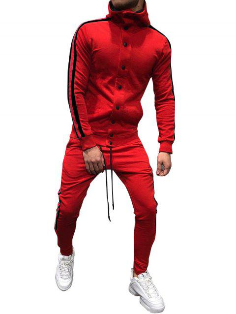 Side Stripe Snap Button Hoodie Jogger Pants Suit - RED S