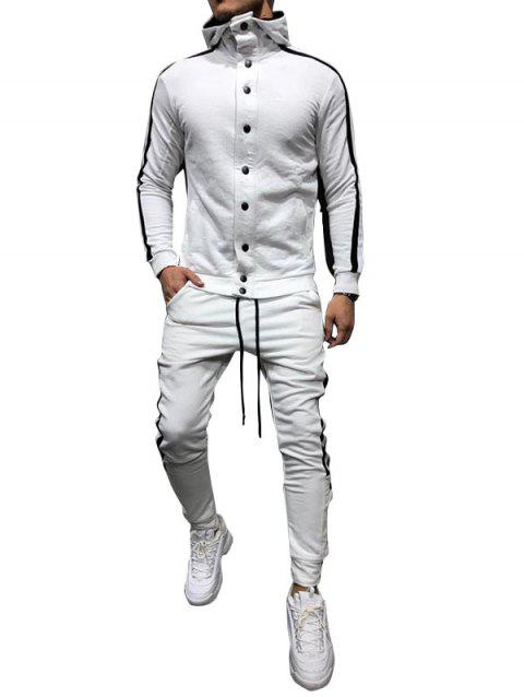 Side Stripe Snap Button Hoodie Jogger Pants Suit - WHITE L