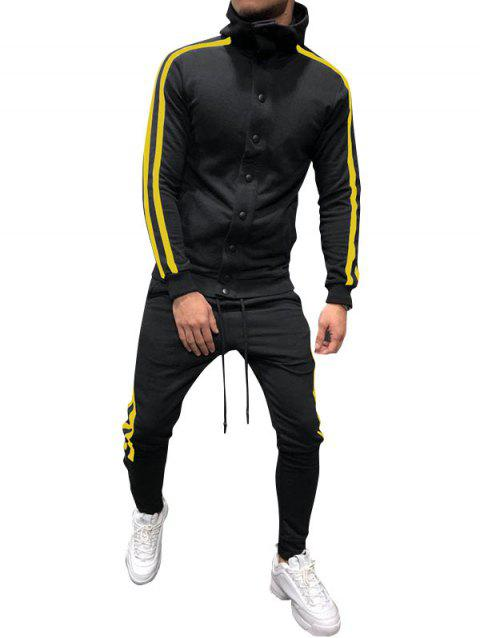Side Stripe Snap Button Hoodie Jogger Pants Suit - YELLOW M