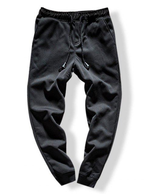 Solid Color Drawstring Jogger Pants - BLACK S