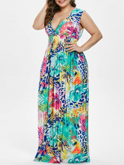 Plus Size Flower Maxi Sleeveless Dress - multicolor 2X