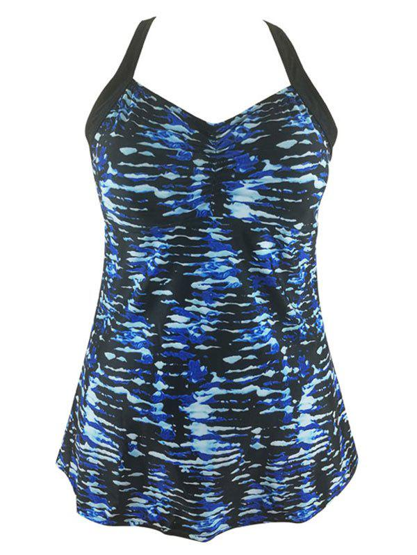 Plus Size Printed Retour Cut Out Set Tankini - Bleu 2X