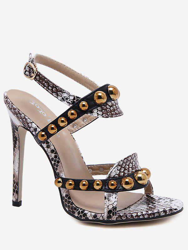 Beads Studded Ankle Strap Super High Heel Sandals - multicolor A EU 36