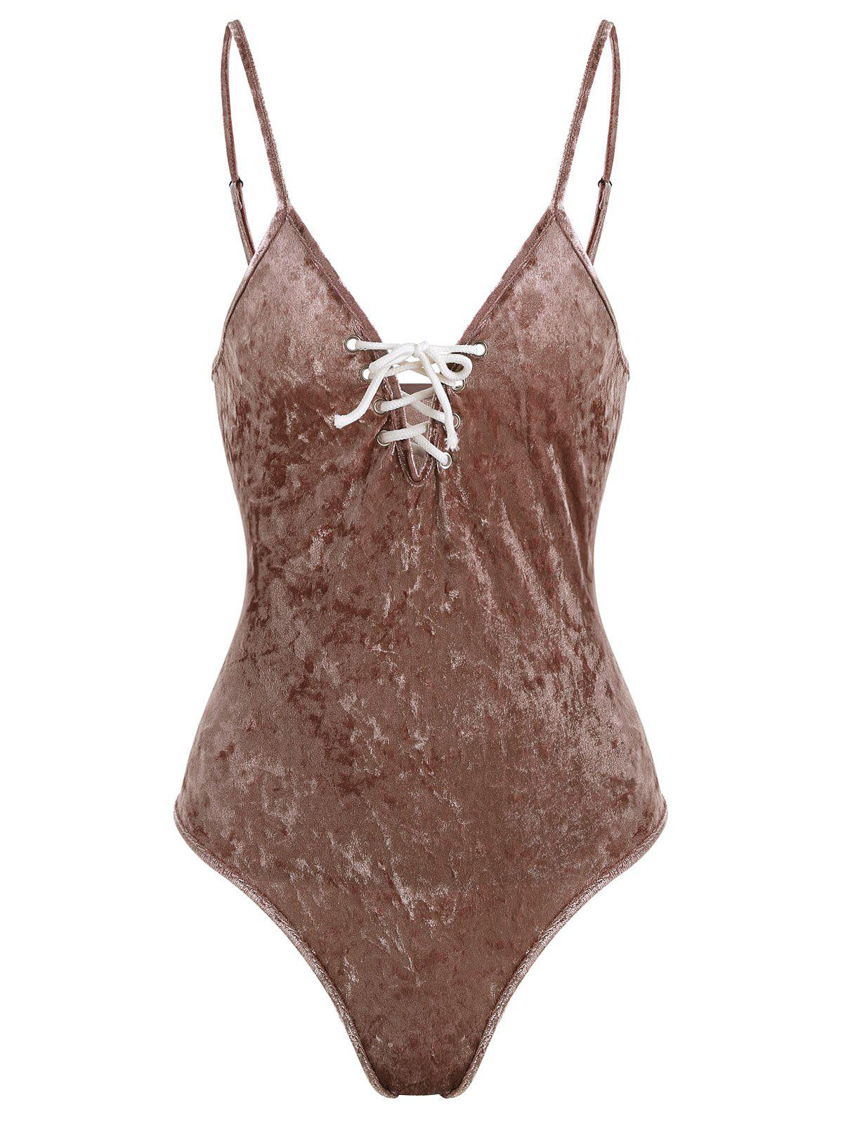 Lace Up Plunging Neck Swimsuit - COFFEE S