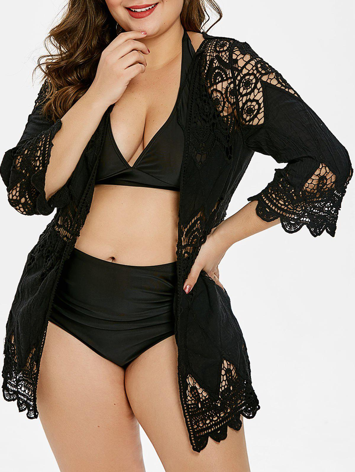 Openwork Plus Size Three Quarter Sleeve Cover Up - BLACK ONE SIZE