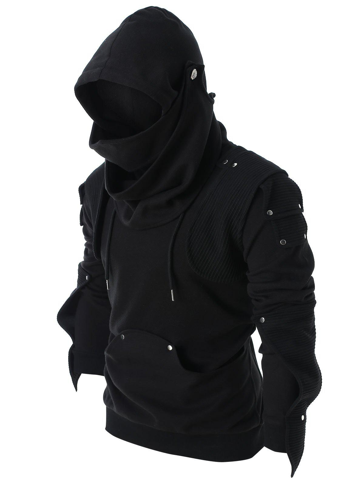 Rivet Long Sleeve Drawstring Hoodie - BLACK L