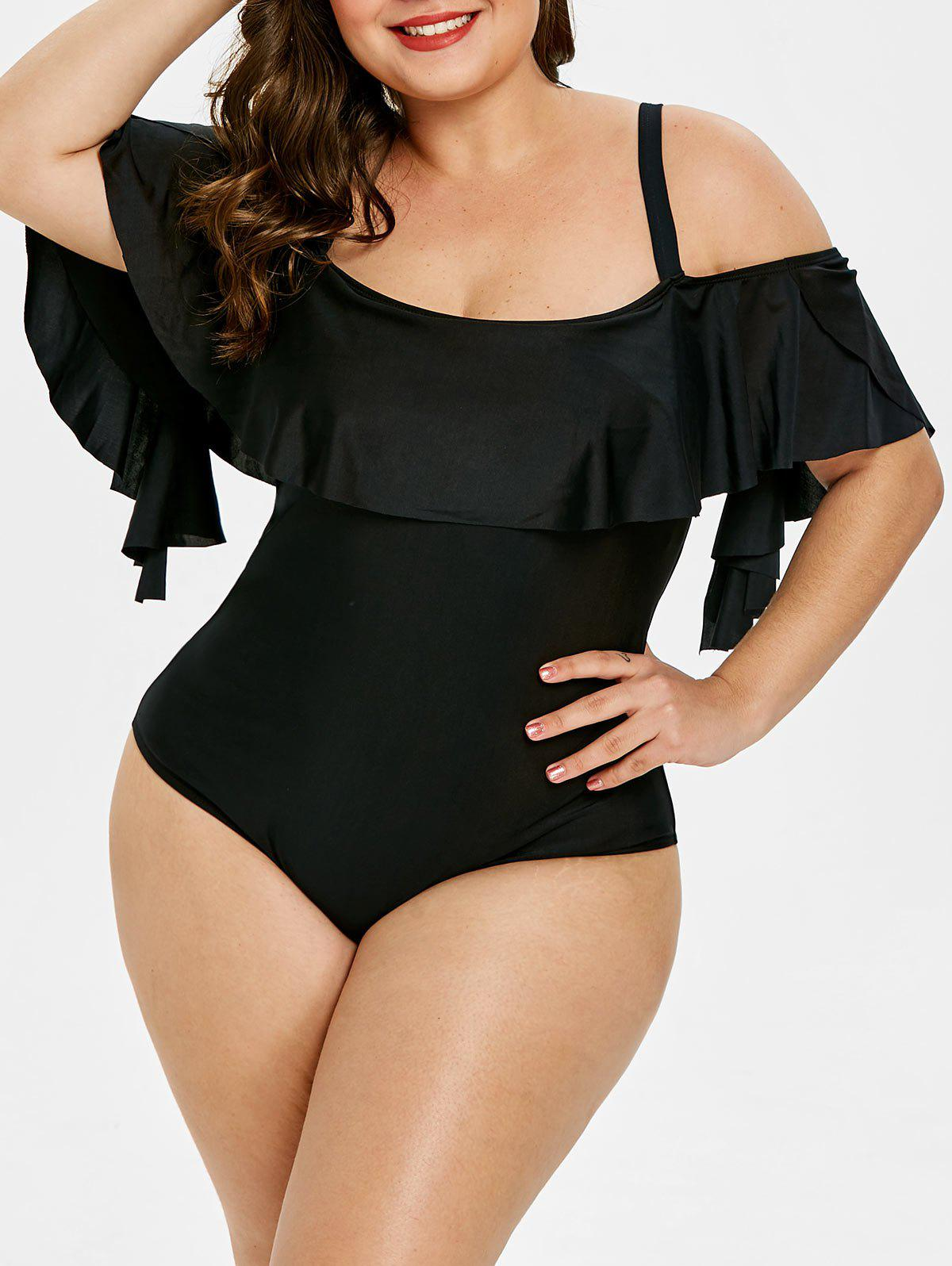 Plus Size Back Cut Out Ruffle Embellished Swimwear - BLACK 5X