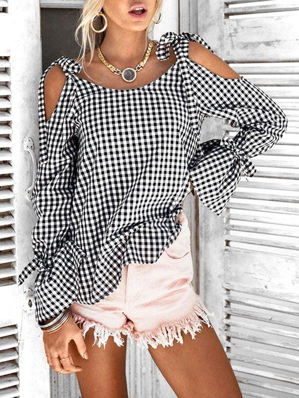 Tie Flare Sleeve Checked Top - BLACK L
