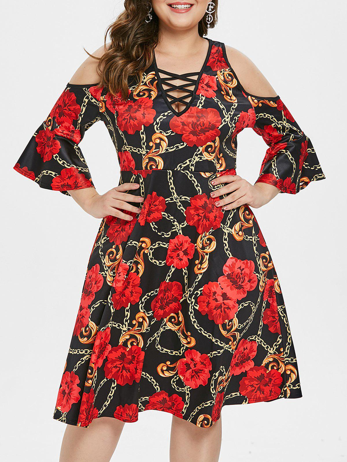 Plus Size Flare Sleeve Cold Shoulder Printed Dress - RED 2X