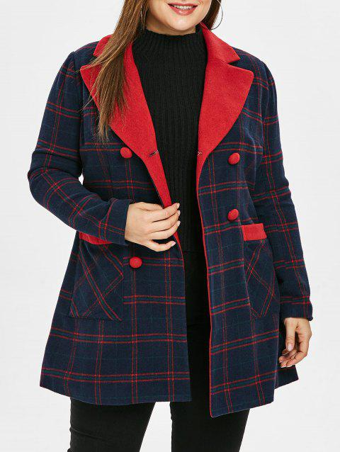 Plus Size Lapel Plaid Double Breast Coat - multicolor 4X