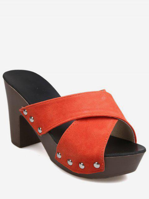 baa28c5ae976 LIMITED OFFER  2019 Crisscross Platform Heeled Slippers In TANGERINE ...