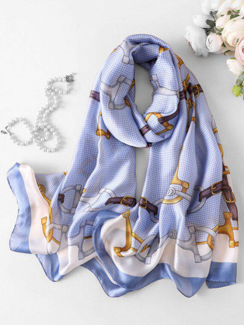 Chain Pattern Printed Faux Silk Scarf - SKY BLUE