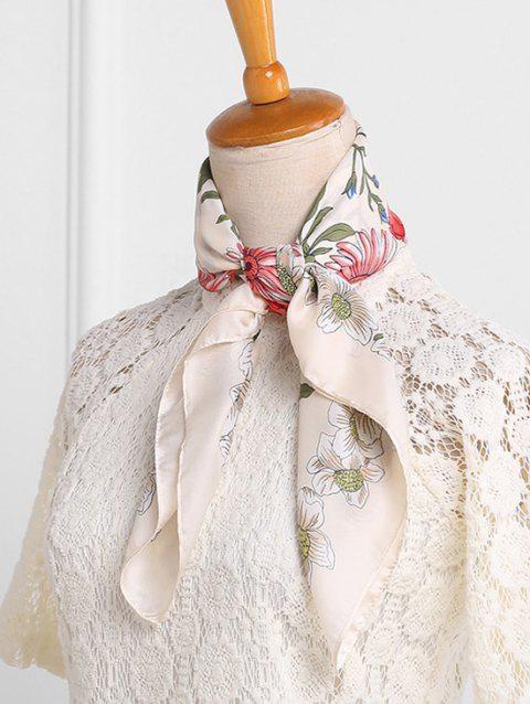 Casual Floral Pattern Square Scarf - BEIGE