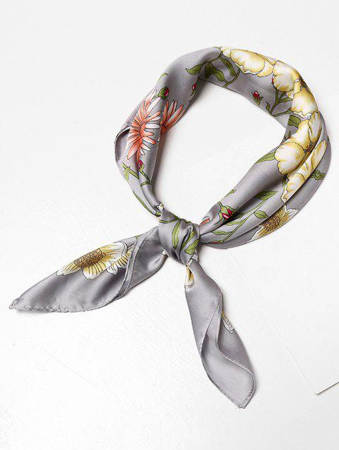 Casual Floral Pattern Square Scarf - BATTLESHIP GRAY