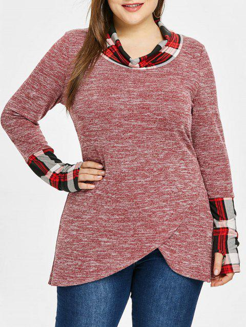 Plus Size Cowl Neck Plaid Trim Marled Top - CHERRY RED 5X