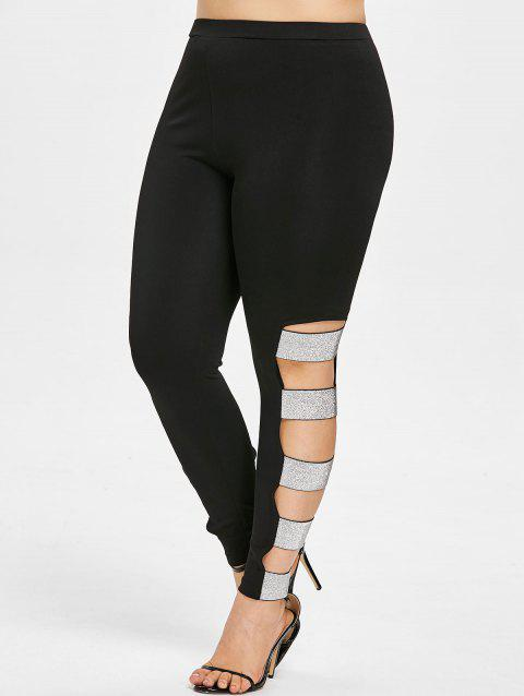 Plus Size Sequined Ripped Leggings - BLACK 2X