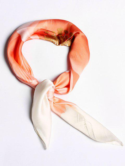 Imitated Silk Big Flower Design Square Scarf - BEAN RED