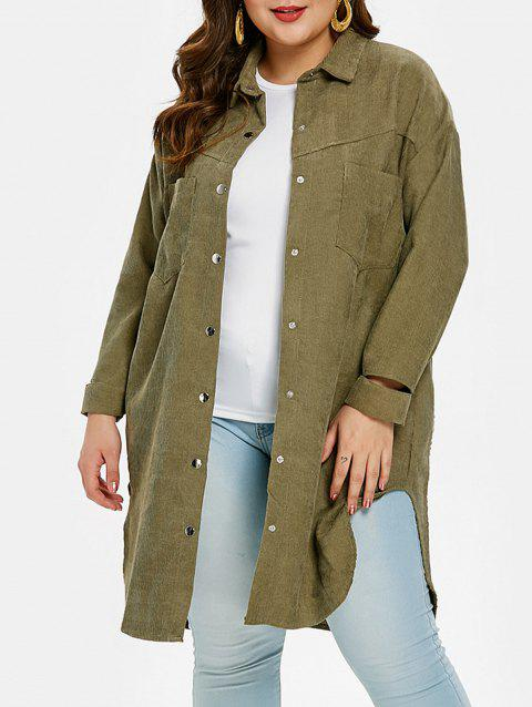 Long Sleeve Snap Button Plus Size Shirt - CAMOUFLAGE GREEN 4X