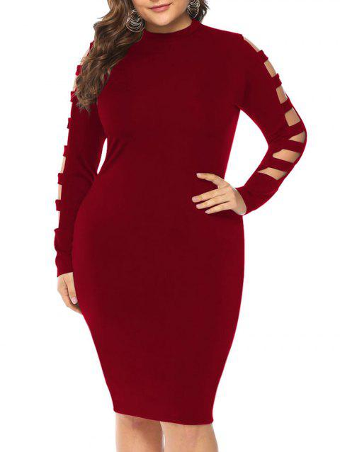Plus Size Ladder Sleeve Bodycon Dress - RED WINE 3X